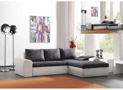 Canapé d'angle convertible réversible gris et blanc design JULIA