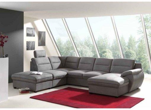Canapé d'angle panoramique convertible tissu gris STAN angle droit