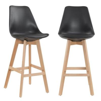 Lot de 2 tabourets de bar scandinave noir GALA