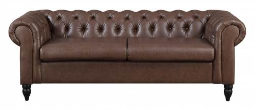 canap chesterfield 3 places marron winston - Canape Chesterfield Rouge Cuir