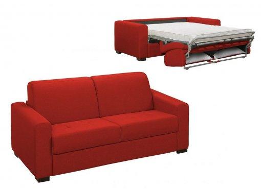 Canapé convertible 3 places LOUNA en tissu rouge ouverture express