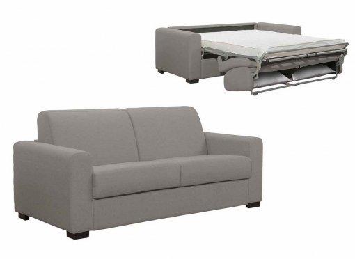 Canapé convertible 3 places LOUNA en tissu gris ouverture express