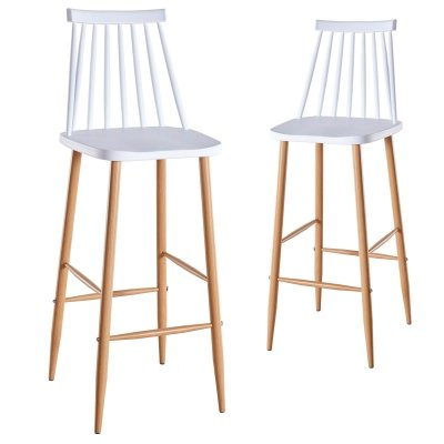 Lot de 2 chaises de bar scandinaves blanches BERTA