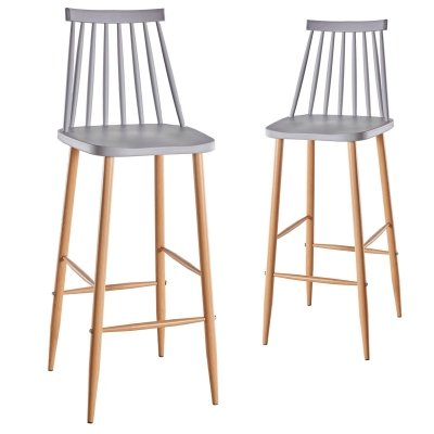 Lot de 2 chaises de bar scandinaves grises BERTA