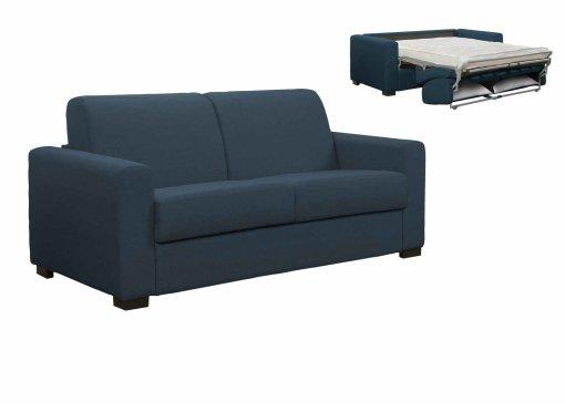 Canapé convertible 3 places LOUNA en tissu bleu denim ouverture express