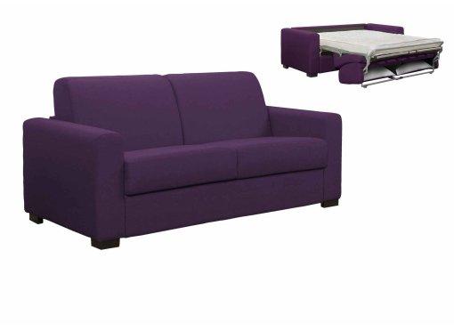 Canapé convertible 3 places LOUNA en tissu violet ouverture express