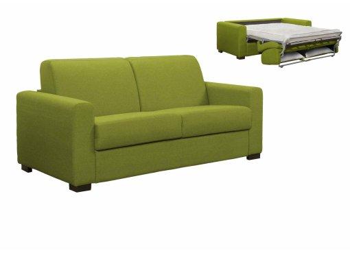 Canapé convertible 3 places LOUNA en tissu vert ouverture express