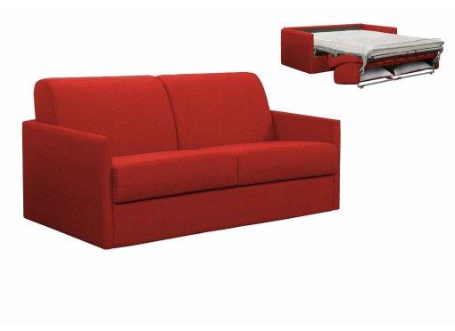 Canapé convertible 3 places LOUNA SLIM en tissu rouge ouverture express