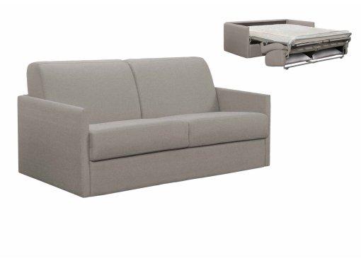 Canapé convertible 3 places LOUNA SLIM en tissu gris ouverture express