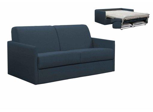 Canapé convertible 3 places LOUNA SLIM en tissu bleu denim ouverture express