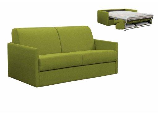 Canapé convertible 3 places LOUNA SLIM en tissu vert ouverture express