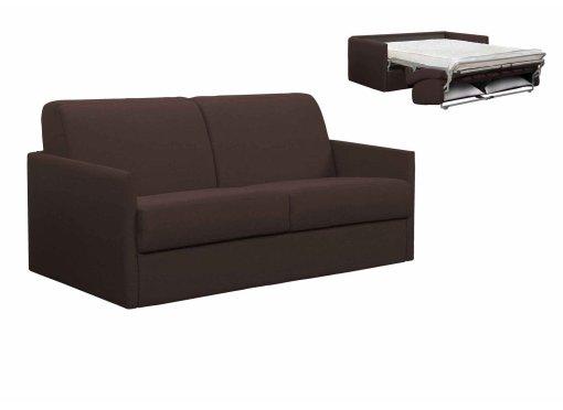 Canapé convertible 3 places LOUNA SLIM en tissu chocolat ouverture express