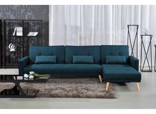 Canapé d'angle convertible modulable en tissu bleu canard CLEA Angle Droit