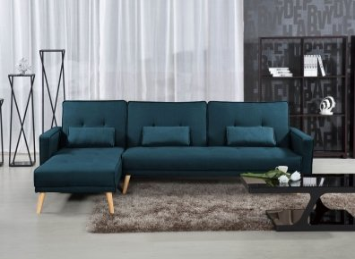 Canapé d'angle convertible modulable en tissu bleu canard CLEA Angle Gauche