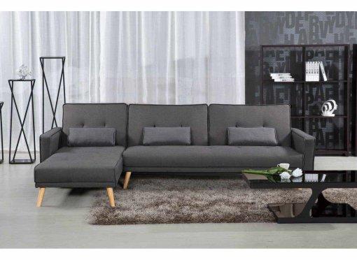 Canapé d'angle convertible modulable en tissu gris CLEA angle gauche
