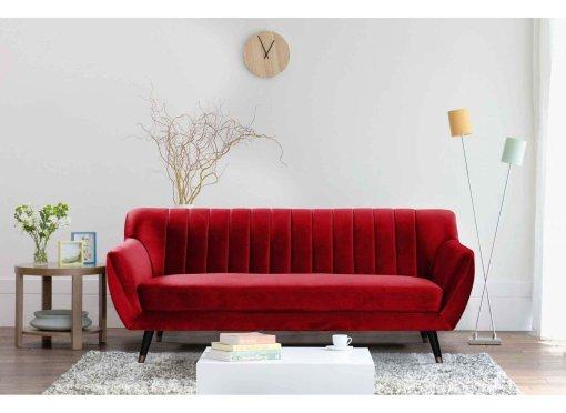 Canapé scandinave 3 places en tissu velours rouge PANDORA