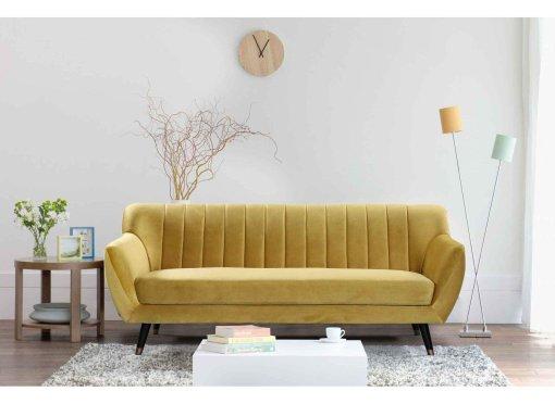 Canapé scandinave 3 places en tissu velours jaune PANDORA