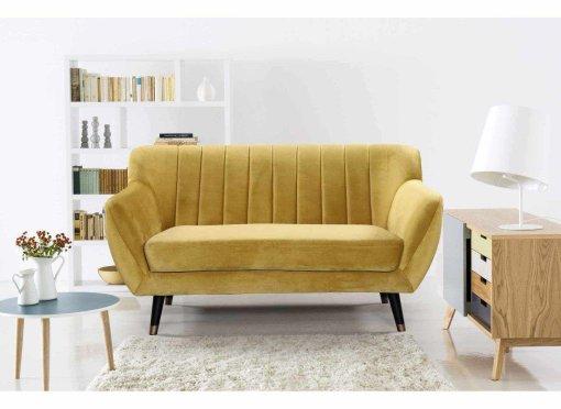 Canapé scandinave 2 places en tissu velours jaune PANDORA