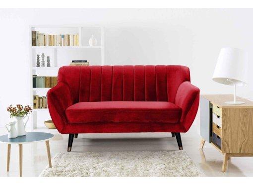 Canapé scandinave 2 places en tissu velours rouge PANDORA
