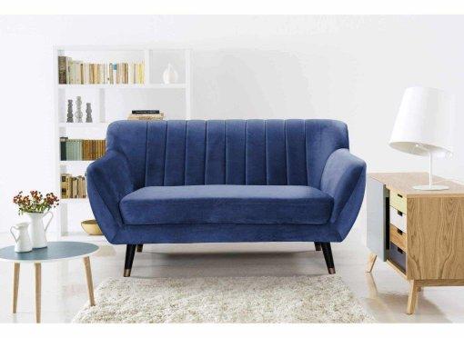 Canapé scandinave 2 places en tissu velours bleu PANDORA