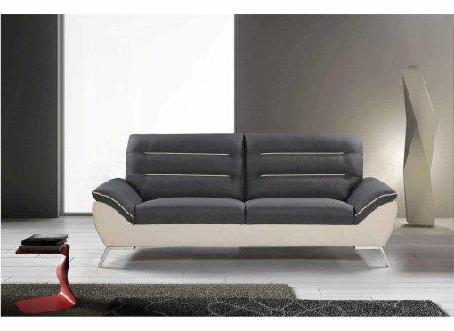 Canapé design 3 places en tissu gris et blanc TIFFANY