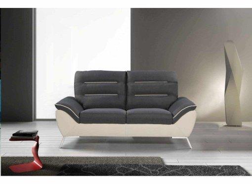 Canapé design 2 places en tissu gris et blanc TIFFANY
