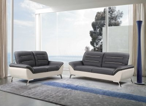 Ensemble canapé 3+2 places en tissu gris et blanc TIFFANY