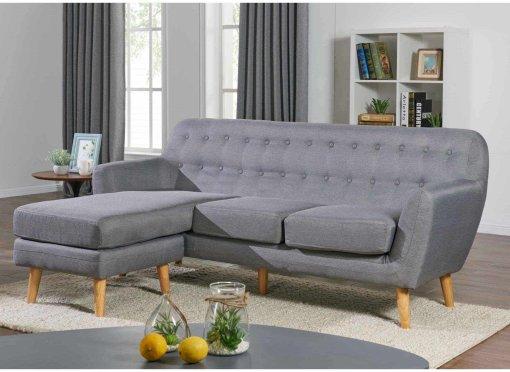 Canapé d'angle méridienne scandinave VIKY en tissu gris