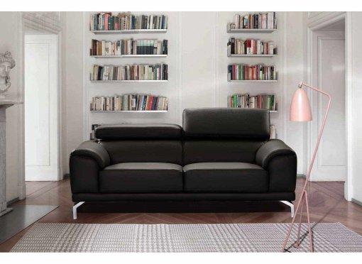 Canapé design contemporain noir 3 places BRITTA