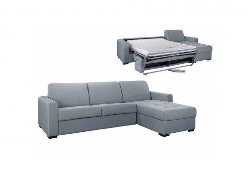 Canapé d'angle réversible convertible LOUNA en tissu gris avec coffre de rangement