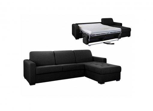 Canapé d'angle réversible convertible LOUNA en tissu gris carbon avec coffre de rangement