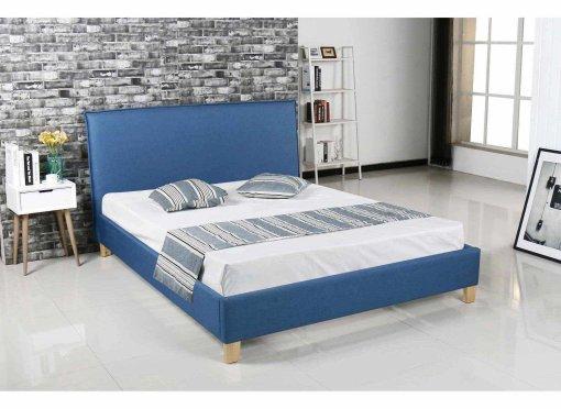 Lit scandinave en tissu bleu BROOK 140x190 cm