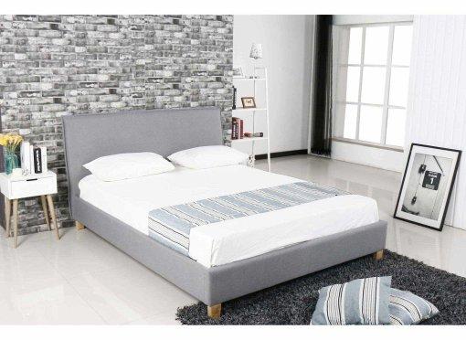 Lit scandinave en tissu gris BROOK 140x190 cm