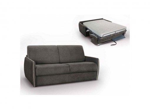 Canapé convertible 3 places FABIO capitonné en tissu gris ouverture express
