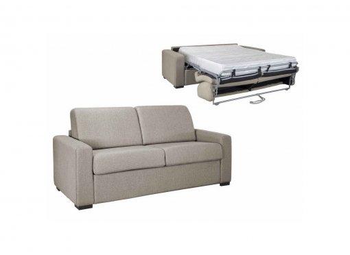 Canapé convertible 3 places LOUNA LUXE en tissu beige ouverture express matelas 18 cm