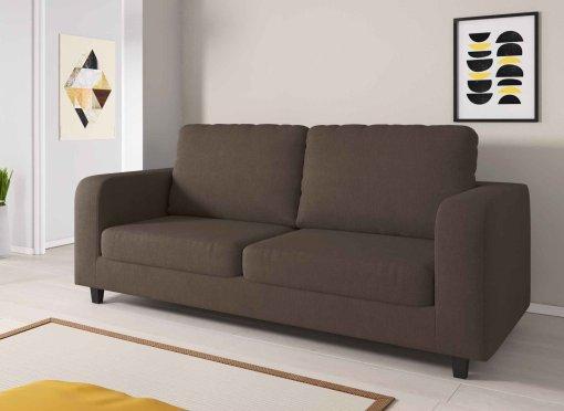 Canapé 3 places en tissu marron LITO