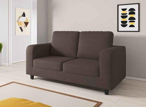 Canapé 2 places en tissu marron LITO