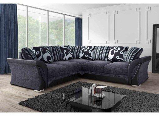 Canapé d'angle en tissu gris et noir Nola