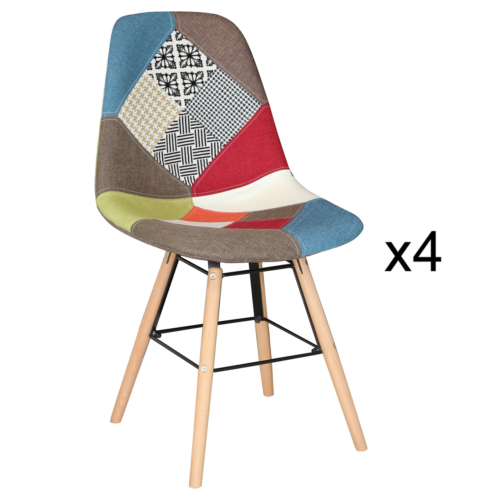 Lot de 4 chaises patchwork design NINA
