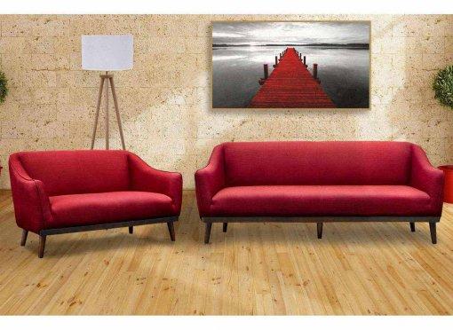 Ensemble canapé 3+2 places tissu rouge ASPEN