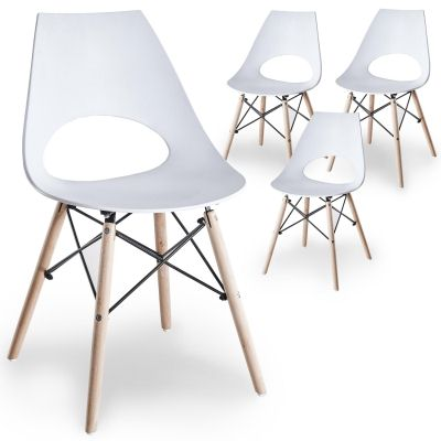 Lot de 4 chaises scandinaves blanches NORA