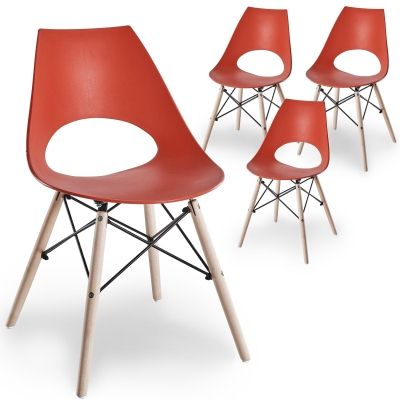 Lot de 4 chaises scandinaves rouges NORA