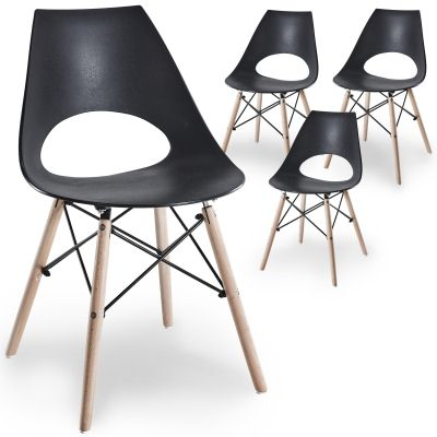 Lot de 4 chaises scandinaves noires NORA