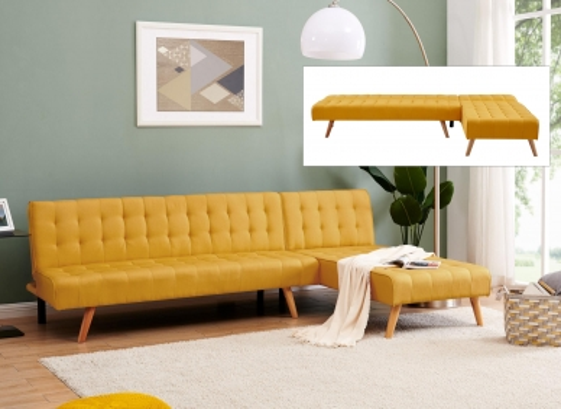 Canapé scandinave convertible modulable avec l'angle réversible en tissu jaune FINN