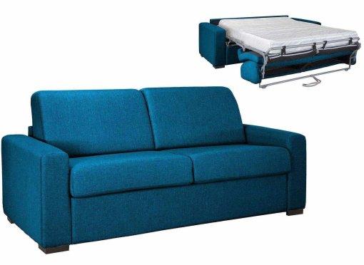 Canapé convertible 3 places LOUNA LUXE en tissu bleu pétrole ouverture express matelas 18 cm