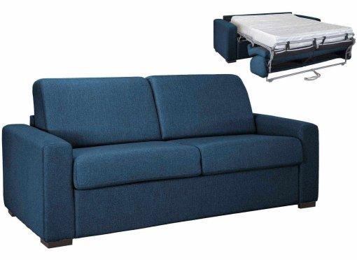 Canapé convertible 3 places LOUNA LUXE en tissu bleu denim ouverture express matelas 18 cm