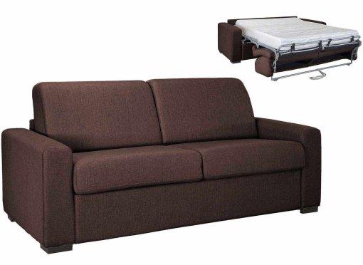 Canapé convertible 3 places LOUNA LUXE en tissu chocolat ouverture express matelas 18 cm