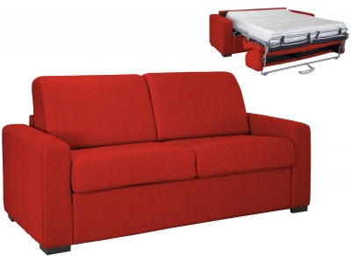 Canapé convertible 3 places LOUNA LUXE en tissu rouge ouverture express matelas 18 cm