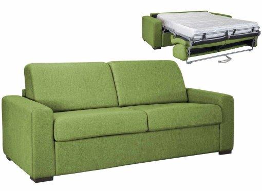 Canapé convertible 3 places LOUNA LUXE en tissu vert ouverture express matelas 18 cm