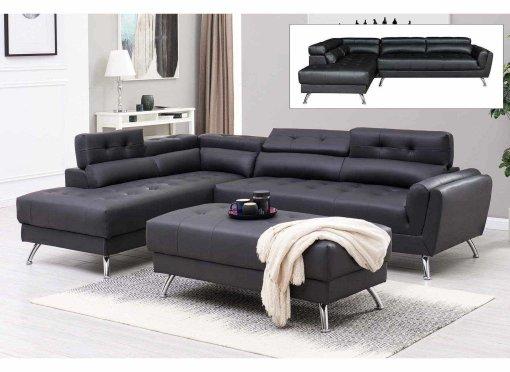 Canapé d'angle capitonné noir ALISON - Angle Gauche